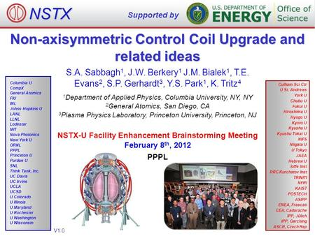 Non-axisymmetric Control Coil Upgrade and related ideas NSTX Supported by V1.0 Culham Sci Ctr U St. Andrews York U Chubu U Fukui U Hiroshima U Hyogo U.