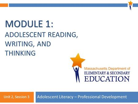 Module 1: Unit 2, Session 3 MODULE 1: MODULE 1: ADOLESCENT READING, WRITING, AND THINKING Adolescent Literacy – Professional Development Unit 2, Session.
