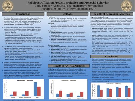 Religious Affiliation Predicts Prejudice and Prosocial Behavior Cody Butcher, Alex DeLaPena, Hemapreya Selvanathan Faculty Mentor: Dr. Jeffrey Goodman,