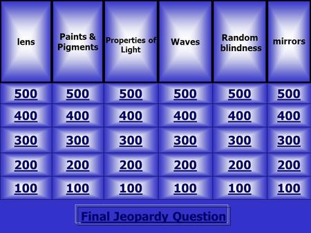 Final Jeopardy Question lens Paints & Pigments 500 mirrors Waves Random blindness 100 200 300 400 500 400 300 200 100 200 300 400 500 Properties of Light.