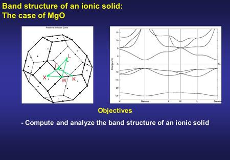 - Compute and analyze the band structure of an ionic solid