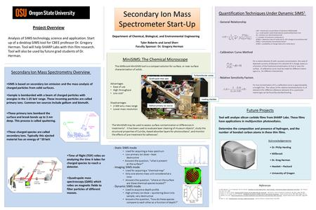 Quantification Techniques Under Dynamic SIMS 1 Secondary Ion Mass Spectrometer Start-Up Project Overview Secondary Ion Mass Spectrometry Overview MiniSIMS: