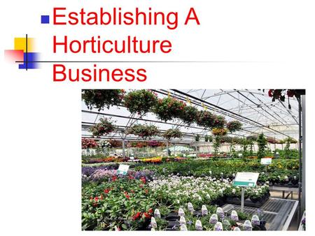 1 Establishing A Horticulture Business. Next Generation Science / Common Core Standards Addressed! RST.11 ‐ 12.7Integrate and evaluate multiple sources.