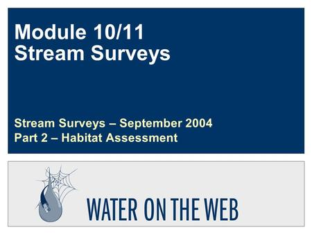 Module 10/11 Stream Surveys Stream Surveys – September 2004 Part 2 – Habitat Assessment.