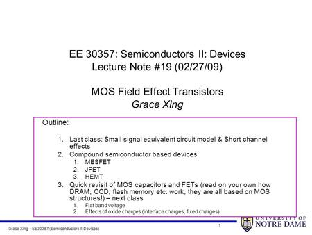Grace Xing---EE30357 (Semiconductors II: Devices) 1 EE 30357: Semiconductors II: Devices Lecture Note #19 (02/27/09) MOS Field Effect Transistors Grace.
