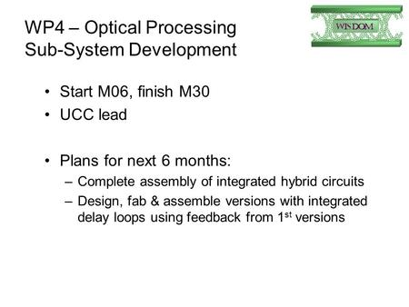 WP4 – Optical Processing Sub-System Development Start M06, finish M30 UCC lead Plans for next 6 months: –Complete assembly of integrated hybrid circuits.