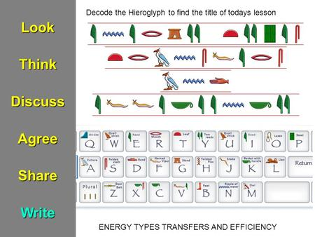 LookThinkDiscussAgreeShareWrite ENERGY TYPES TRANSFERS AND EFFICIENCY Decode the Hieroglyph to find the title of todays lesson.