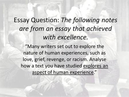 "Essay Question: The following notes are from an essay that achieved with excellence. ""Many writers set out to explore the nature of human experiences,"