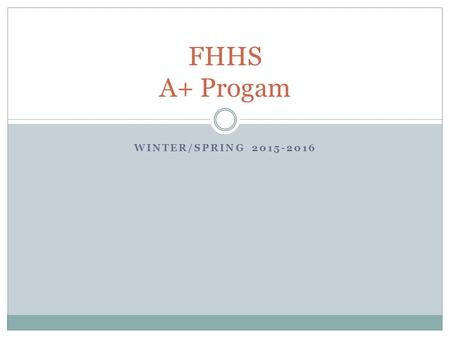 WINTER/SPRING 2015-2016 FHHS A+ Progam. Paperwork All placement paperwork is due to Ms. Lowrey in guidance by Tuesday, November 24th. All time sheets.