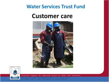 Water Services Trust Fund Customer care 10/24/20151.