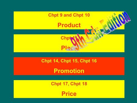 Chpt 9 and Chpt 10 Product Chpt 11 Place Chpt 14, Chpt 15, Chpt 16 <strong>Promotion</strong> Chpt 17, Chpt 18 Price.