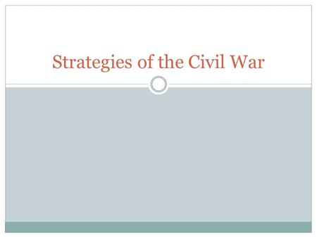Strategies of the Civil War. Focus Question How should a country best prepare for war?