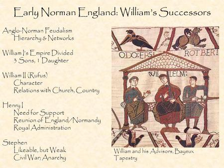 Early Norman England: William's Successors Anglo-Norman Feudalism Hierarchy & Networks William I's Empire Divided 3 Sons, 1 Daughter William II (Rufus)