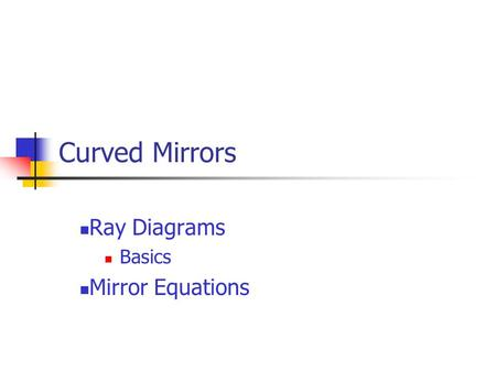 Curved Mirrors Ray Diagrams Basics Mirror Equations.