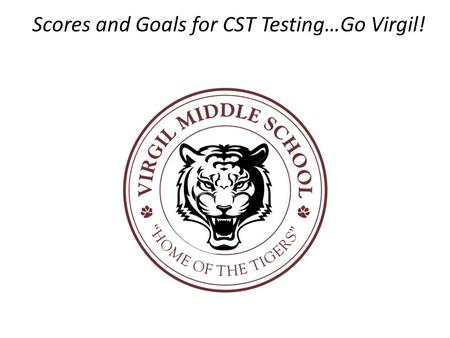 Scores and Goals for CST Testing Scores and Goals for CST Testing…Go Virgil!