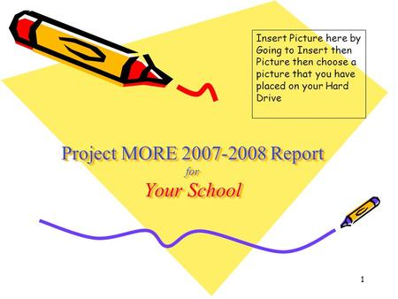 1 Project MORE 2007-2008 Report for Your School Insert Picture here by Going to Insert then Picture then choose a picture that you have placed on your.