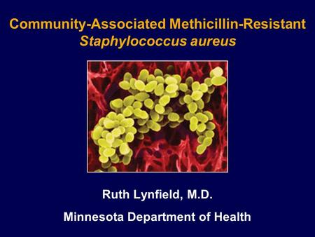 Community-Associated Methicillin-Resistant Staphylococcus aureus Ruth Lynfield, M.D. Minnesota Department of Health.