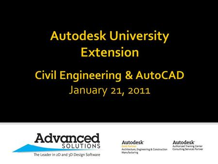 welcomes you to AU Extension for Civil Engineering & AutoCAD.