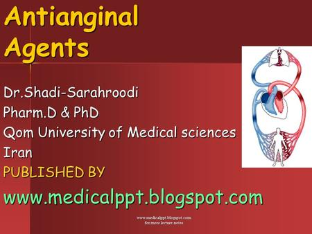 Www.medicalppt.blogspot.com for more lecture notes Antianginal Agents Dr.Shadi-Sarahroodi Pharm.D & PhD Qom University of Medical sciences Iran PUBLISHED.