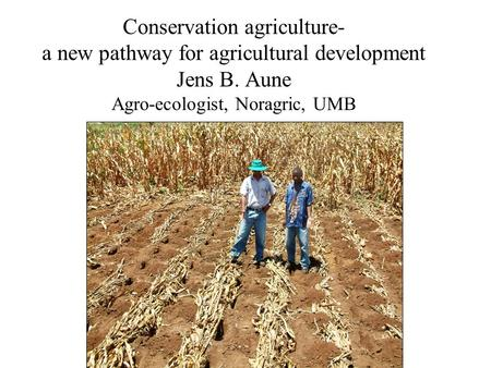 Conservation agriculture- a new pathway for agricultural development Jens B. Aune Agro-ecologist, Noragric, UMB.