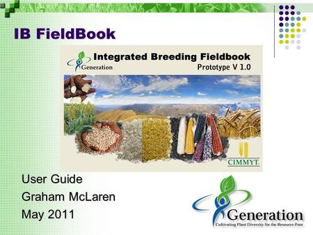 IB FieldBook User Guide Graham McLaren May 2011. Introduction The Workbench opens with an assumed active 'breeding project' and an empty list of 'studies'