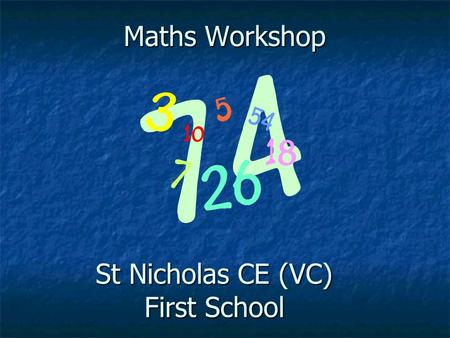 Maths Workshop St Nicholas CE (VC) First School. Aims of the Workshop To raise standards in maths by working closely with parents. To provide parents.