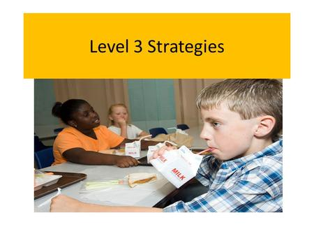 Level 3 Strategies. Who needs Level 3 Strategies? Students that are not responding to Level 1 and 2 strategies in the general classroom. Students with.