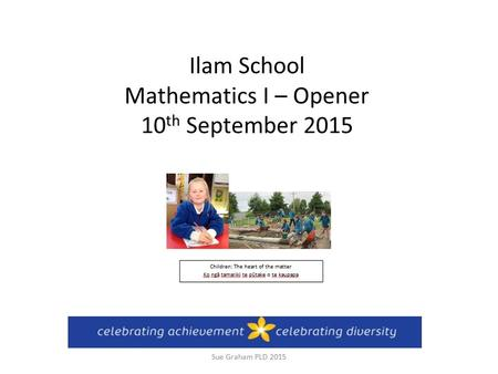 Ilam School Mathematics I – Opener 10 th September 2015 Sue Graham PLD 2015.