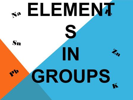 PRACTIC E THE ELEMENT S IN GROUPS Na Fe Pb Zn Sn K.