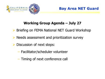 Bay Area NET Guard Working Group Agenda – July 27  Briefing on FEMA National NET Guard Workshop  Needs assessment and prioritization survey  Discussion.