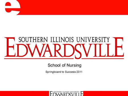School of Nursing Springboard to Success 2011. School of Nursing Academic Programs  Traditional BS Option (Edwardsville & Carbondale)  Accelerated Second.