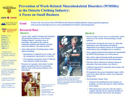 Prevention of Work-Related Musculoskeletal Disorders (WMSDs) in the Ontario Clothing Industry: A Focus on Small Business Natale, J. (1) (2), Bredin, R.