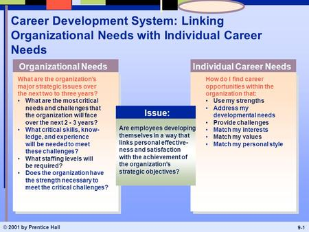 © 2001 by Prentice Hall 9-1 Career Development System: Linking Organizational Needs with Individual Career Needs What are the organization's major strategic.