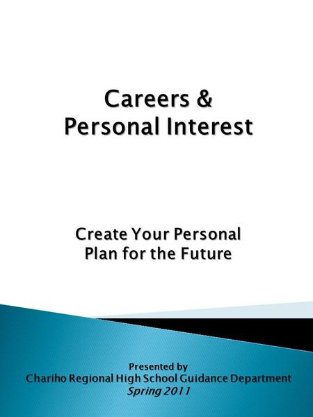 Careers & Personal Interest Create Your Personal Plan for the Future Presented by Chariho Regional High School Guidance Department Spring 2011.
