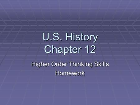 Higher order thinking homework