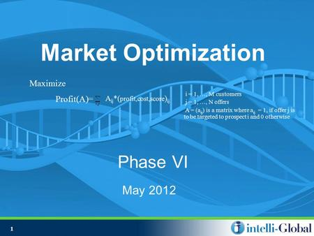 1 Market Optimization Phase VI May 2012 i = 1, …, M customers j = 1, …, N offers A = (a ij ) is a matrix where a ij = 1, if offer j is to be targeted to.