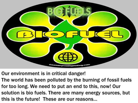Our environment is in critical danger! The world has been polluted by the burning of fossil fuels for too long. We need to put an end to this, now! Our.