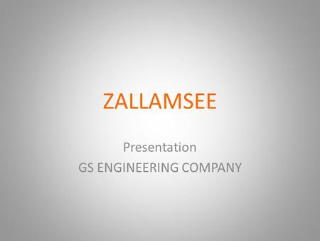 ZALLAMSEE Presentation GS ENGINEERING COMPANY. ZALLAMSEE Zallamsee provides a full range of cleaning services for industry: Oil Facilities Paint Facilities.