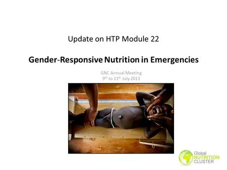 Update on HTP Module 22 Gender-Responsive Nutrition in Emergencies GNC Annual Meeting 9 th to 11 th July 2013.