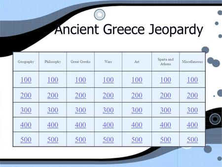 Ancient Greece Jeopardy GeographyPhilosophyGreat GreeksWarsArt Sparta and Athens Miscellaneous 100 200 300 400 500.