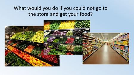 What would you do if you could not go to the store and get your food?