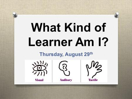 What Kind of Learner Am I? Thursday, August 29 th.