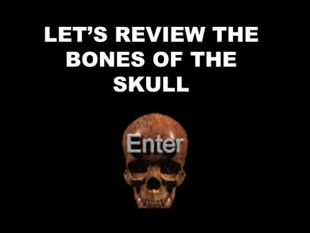 LET'S REVIEW THE BONES OF THE SKULL