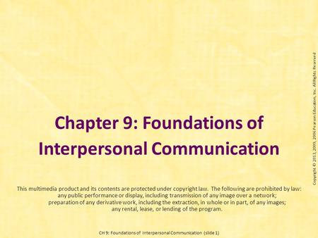 Chapter 9: Foundations of Interpersonal Communication