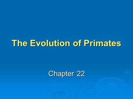 The Evolution of Primates Chapter 22. Learning Objective 1 What structural adaptations do primates have for life in treetops? What structural adaptations.