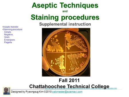 Aseptic Techniques and Staining procedures Supplemental instruction Picture from