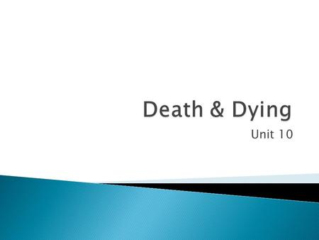 Unit 10.  Vary among cultures ◦ Some see death as an occasion to mourn ◦ Some see death as a celebration of life  Burial rituals vary as well ◦ Some.