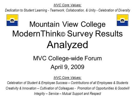 Mountain View College ModernThink © Survey Results Analyzed MVC College-wide Forum April 9, 2009 MVC Core Values: Celebration of Student & Employee Success.