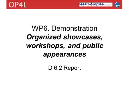 WP6. Demonstration Organized showcases, workshops, and public appearances D 6.2 Report.