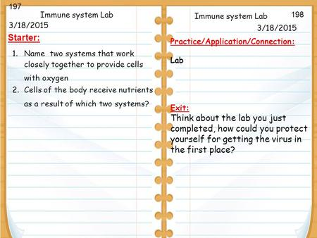 3/18/2015 Starter: Immune system Lab 3/18/2015 Immune system Lab Practice/Application/Connection: Lab Exit: Think about the lab you just completed, how.